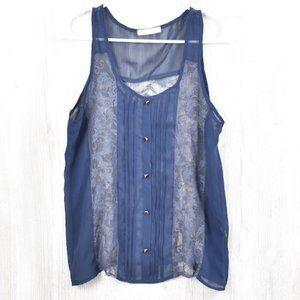 LUSH Blue Lace Pleated Tank Top Medium